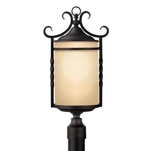 Hinkley Lighting Post Light with Amber Glass in Olde Black Finish 1141OL