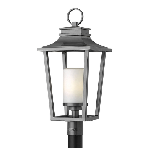 Hinkley Lighting Post Light with White Glass in Hematite Finish 1741HE-GU24