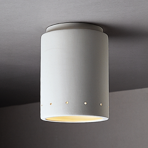 Justice Design Group Close To Ceiling Light with White Shade in Bisque Finish CER-6105W-BIS
