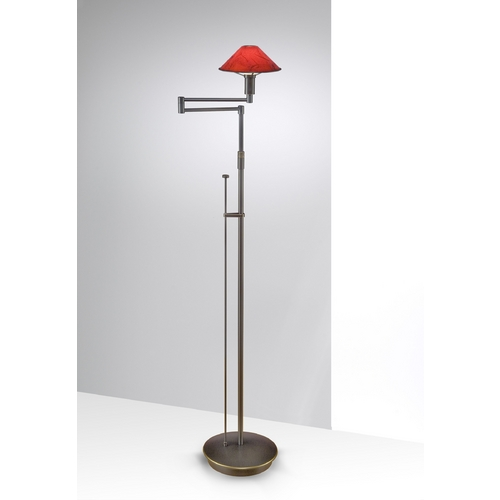Holtkoetter Lighting Holtkoetter Modern Swing Arm Lamp with Red Glass in Hand-Brushed Old Bronze Finish 9434 HBOB MGR