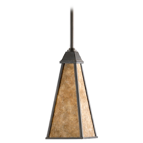 Quorum Lighting Quorum Lighting Oiled Bronze Mini-Pendant Light with Square Shade 3156-86