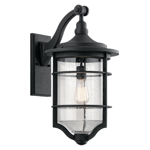 Kichler Lighting Seeded Glass Outdoor Wall Light Black Kichler Lighting 49128DBK