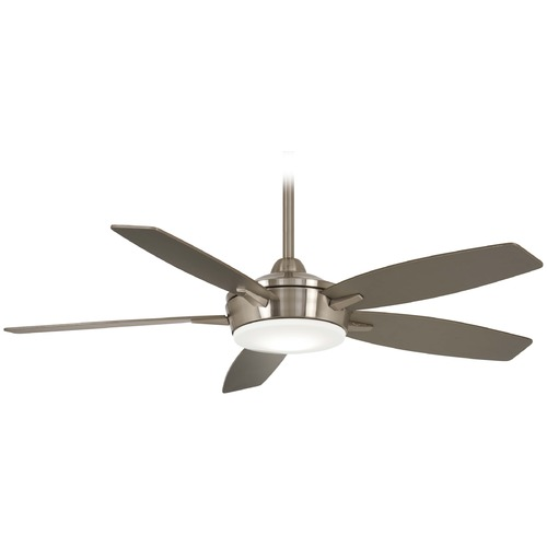 Minka Aire 52-Inch Minka Aire Espace Brushed Nickel LED Ceiling Fan with Light F690L-BN/SL