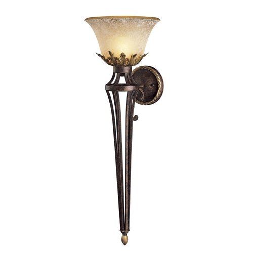 Metropolitan Lighting Sconce Wall Light with Beige / Cream Glass in Golden Bronze Finish N2235-355