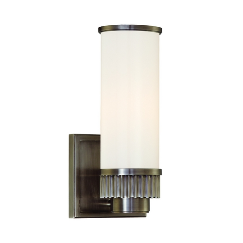 Hudson Valley Lighting Modern Sconce with White Glass in Antique Nickel Finish 1561-AN