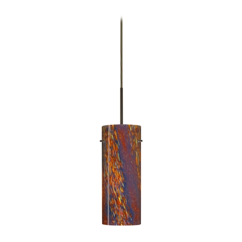 Besa Lighting Modern Pendant Light with Multi-Color Glass in Bronze Finish 1JT-4123CE-BR
