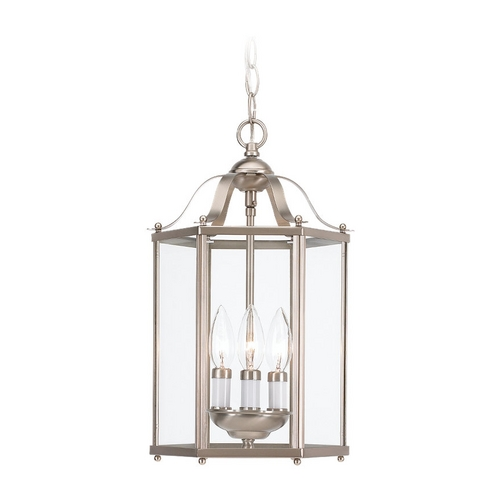 Sea Gull Lighting Mini-Pendant Light with Clear Glass in Brushed Nickel Finish 5231-962