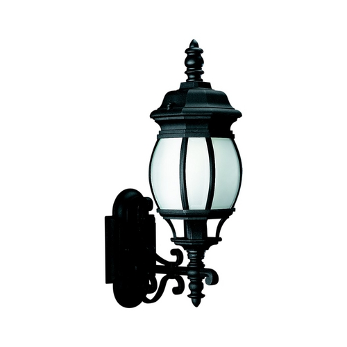 Sea Gull Lighting Outdoor Wall Light with White Glass in Black Finish 89102BLE-12