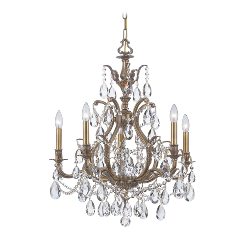 Crystorama Lighting Crystal Chandelier in Antique Brass Finish 5575-AB-CL-SAQ