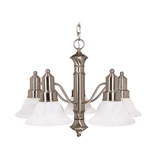 Nuvo Lighting Chandelier with Alabaster Glass in Brushed Nickel Finish 60/3182