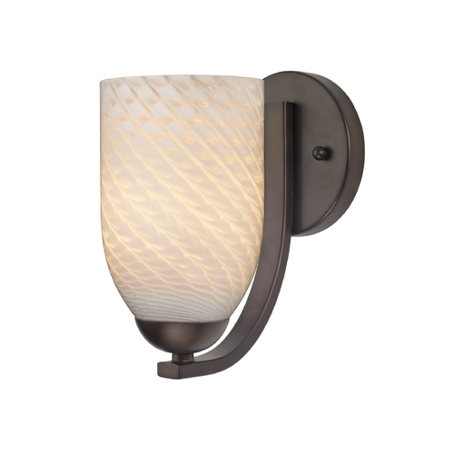 Design Classics Lighting Modern Wall Sconce with White Art Glass in Bronze Finish 585-220 GL1020D