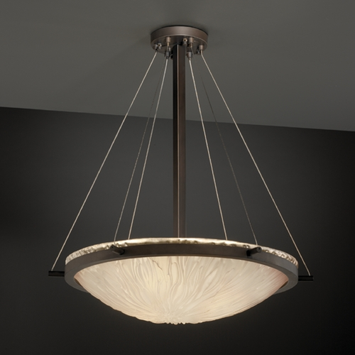 Justice Design Group Modern Pendant Light with White Glass in Dark Bronze Finish GLA-9692-35-WTFR-DBRZ