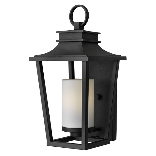 Hinkley Lighting Outdoor Wall Light with White Glass in Black Finish 1744BK-GU24