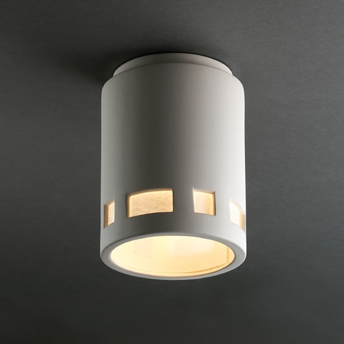 Justice Design Group Close To Ceiling Light with White Shade in Bisque Finish CER-6107W-BIS
