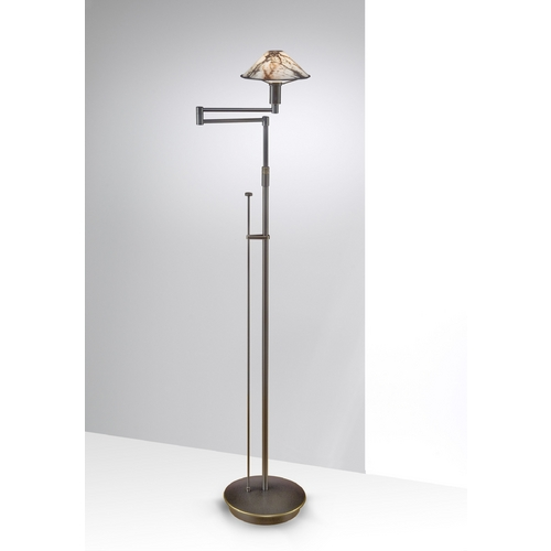 Holtkoetter Lighting Holtkoetter Modern Swing Arm Lamp with White Glass in Hand-Brushed Old Bronze Finish 9434 HBOB MRB
