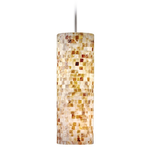Hart Lighting Hart Lighting Visaya Shell Satin Nickel / Bronze Mini-Pendant Light with Cylindrical Shade 11161007