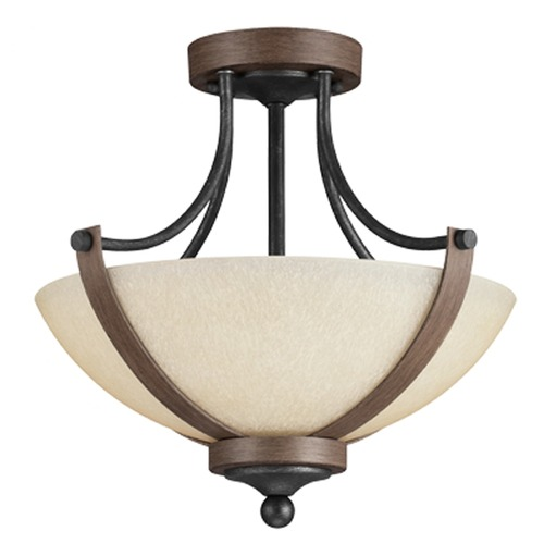 Sea Gull Lighting Sea Gull Lighting Corbeille Stardust / Cerused Oak Semi-Flushmount Light 7780402BLE-846