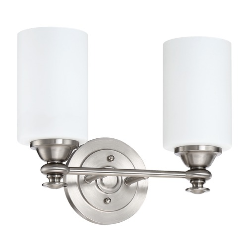 Craftmade Lighting Craftmade Brushed Polished Nickel 2-Light Bathroom Light with White Frosted Shades 49802-BNK