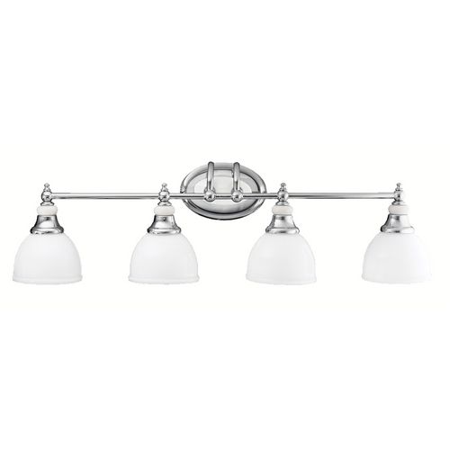 Kichler Lighting Kichler Bathroom Light with White Glass in Chrome Finish 5370CH
