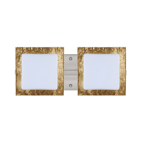 Besa Lighting Modern Bathroom Light with Gold Glass in Satin Nickel Finish 2WS-7735GF-SN