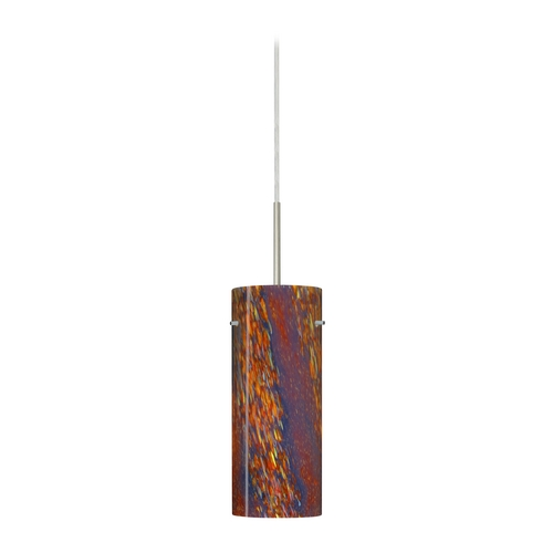 Besa Lighting Modern Pendant Light with Multi-Color Glass in Satin Nickel Finish 1JT-4123CE-SN