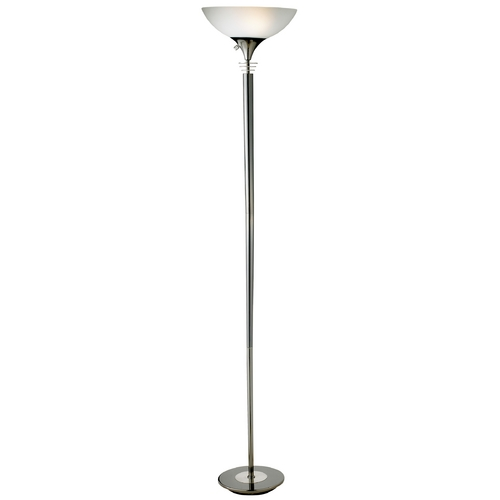 Adesso Home Lighting Modern Torchiere Lamp with White Glass in Black Nickel Finish 5120-01