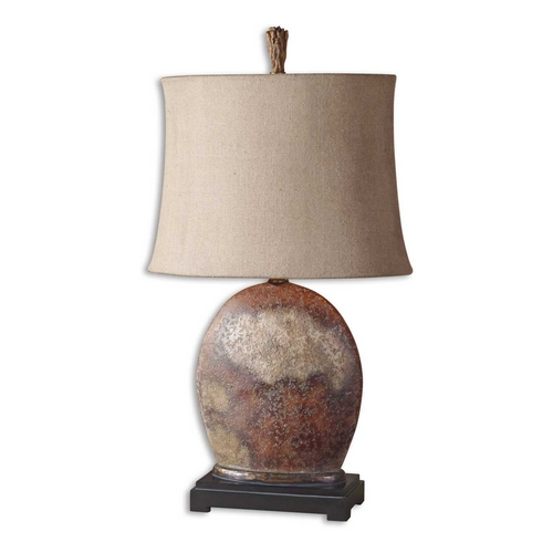 Uttermost Lighting Table Lamp with Beige / Cream Shade in Rusty Brown Finish 27998-1