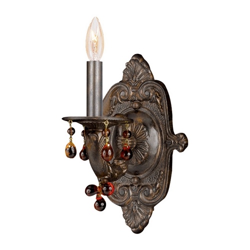 Crystorama Lighting Sconce Wall Light in Venetian Bronze Finish 5201-VB-AMBER