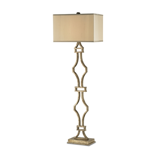 Currey and Company Lighting Floor Lamp with Beige / Cream Shade in Antique Silver Leaf Finish 8028
