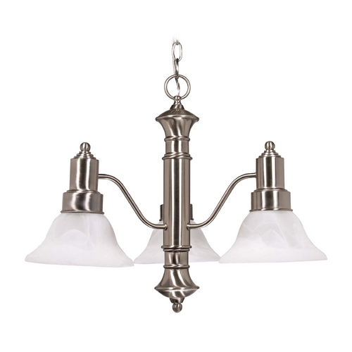 Nuvo Lighting Chandelier with Alabaster Glass in Brushed Nickel Finish 60/3183
