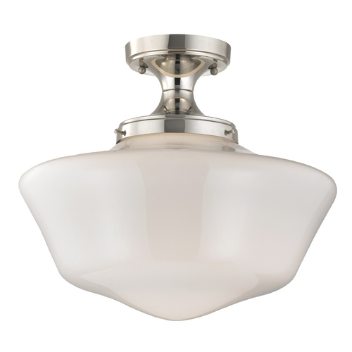 Design Classics Lighting 16-Inch Schoolhouse Ceiling Light in Polished Nickel Finish FES-15/ GA16