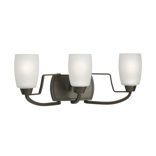 Progress Lighting Progress Bathroom Light with White Glass in Antique Bronze Finish P2796-20EBWB