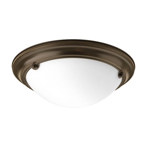 Progress Lighting Flushmount Light with White Glass in Antique Bronze Finish P3489-20EB