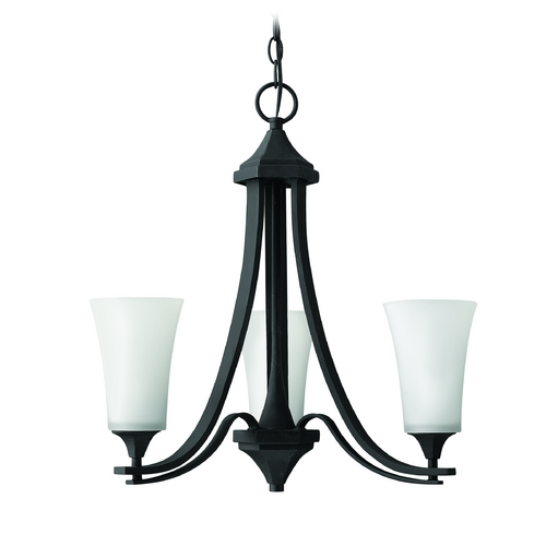 Hinkley Lighting Chandelier with White Glass in Textured Black Finish 4633TB