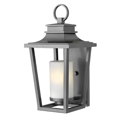 Hinkley Lighting Outdoor Wall Light with White Glass in Hematite Finish 1744HE-GU24