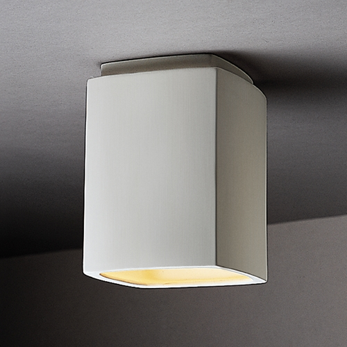 Justice Design Group Close To Ceiling Light with White Shade in Bisque Finish CER-6110W-BIS