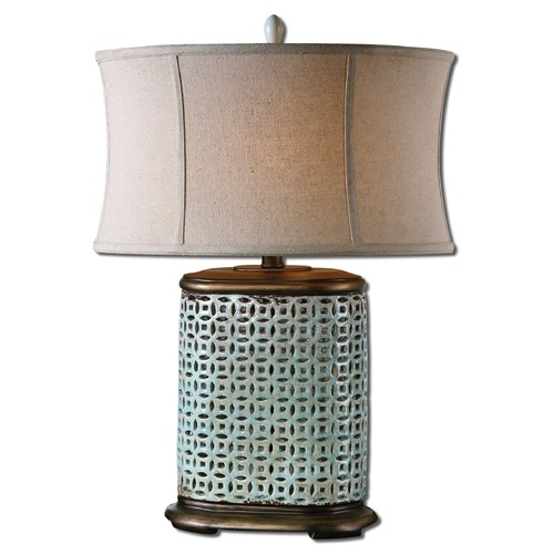 Uttermost Lighting Uttermost Rosignano Crackled Blue Table Lamp 27475-1