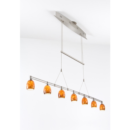 Holtkoetter Lighting Holtkoetter Modern Low Voltage Pendant Light with Amber Glass in Satin Nickel Finish 5517 SN G5020