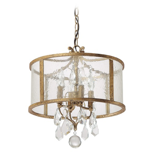 Capital Lighting Capital Lighting Blakely Antique Gold Pendant Light with Drum Shade 9484AG-CR