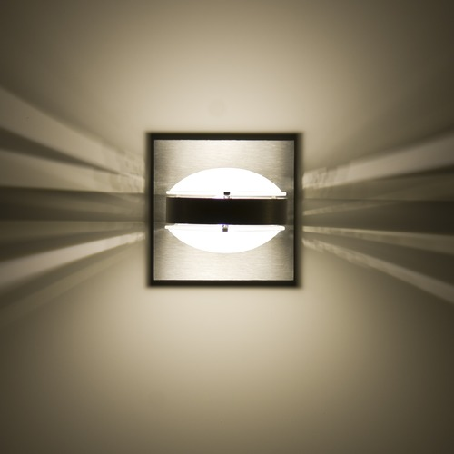 Besa Lighting Besa Lighting Optos Frosted Glass Brushed Aluminum LED Sconce OPTOS1W-FRFR-LED-BA