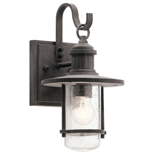Kichler Lighting Seeded Glass Outdoor Wall Light Zinc Kichler Lighting 49191WZC