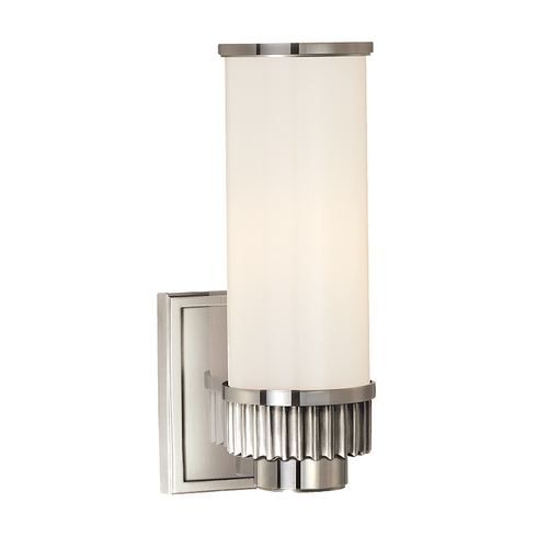 Hudson Valley Lighting Modern Sconce with White Glass in Polished Nickel Finish 1561-PN