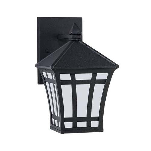 Sea Gull Lighting Outdoor Wall Light with White Glass in Black Finish 89131BLE-12