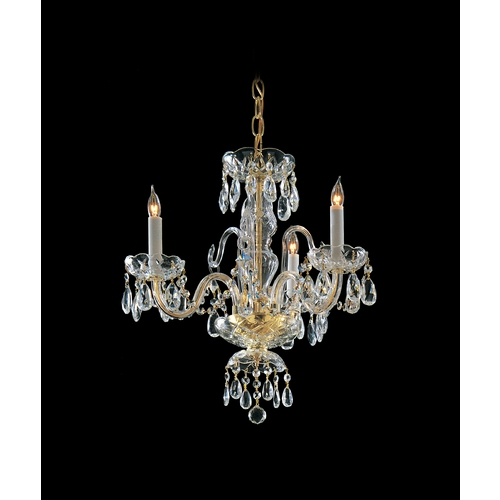 Crystorama Lighting Crystal Mini-Chandelier in Polished Brass Finish 5044-PB-CL-MWP