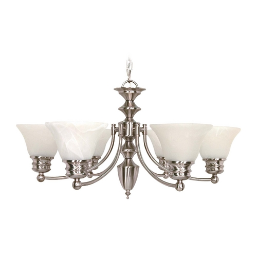 Nuvo Lighting Chandelier with Alabaster Glass in Brushed Nickel Finish 60/3195