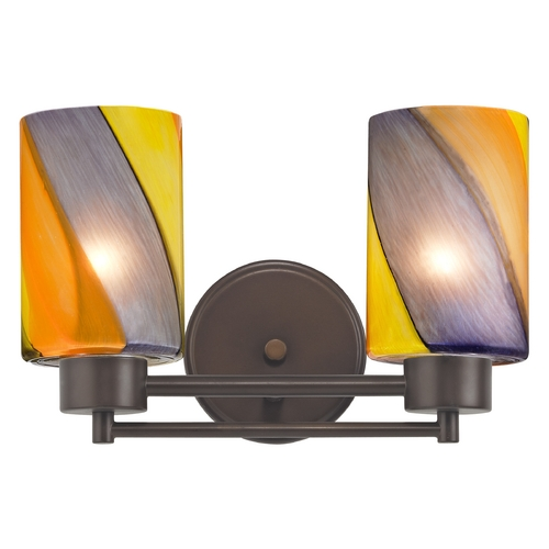 Design Classics Lighting Modern Bathroom Light with Art Glass in Neuvelle Bronze Finish 702-220 GL1015C