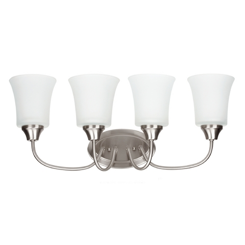 Sea Gull Lighting Bathroom Light with White Glass in Brushed Nickel Finish 49809BLE-962