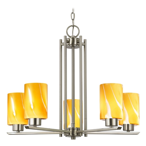 Design Classics Lighting Modern Chandelier with Butterscotch Glass in Satin Nickel Finish 1120-1-09 GL1022C