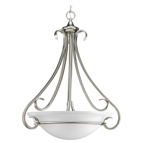 Progress Lighting Progress Pendant Light with White Glass in Brushed Nickel Finish P3847-09
