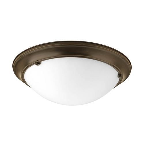 Progress Lighting Flushmount Light with White Glass in Antique Bronze Finish P3521-20EB